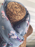 Grey Small Floral Print Scarf