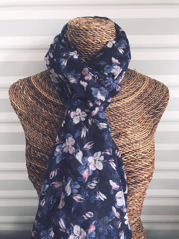 Navy Soft Pastel Floral Scarf