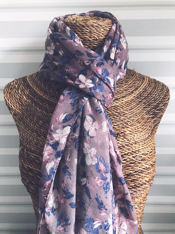 Purple Soft Pastel Floral Scarf