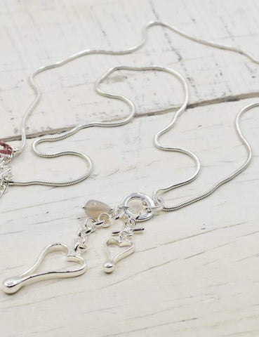 Hearts Pendants with rose quartz stone Necklace - Silver
