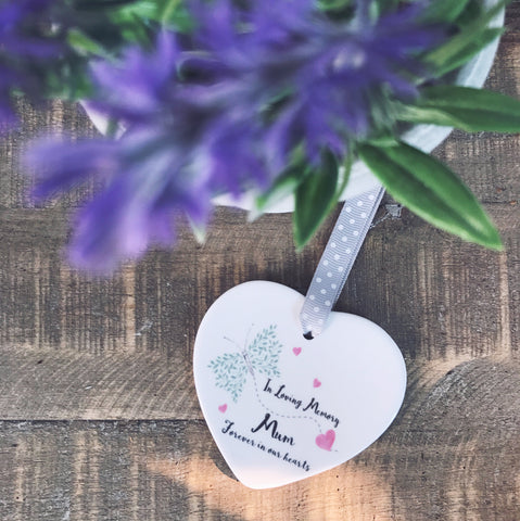 In Loving Memory... Personalised Butterfly Ceramic Heart
