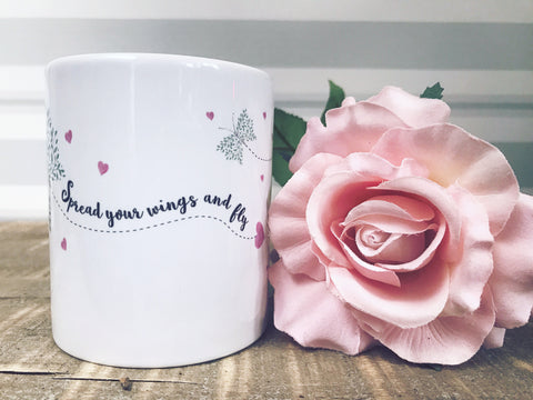 Spread your Wings and Fly Butterfly Quote Detail Mug