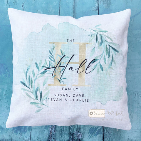 Personalised Monogram Family Names Botanical Gold and Greenery Design Cushion