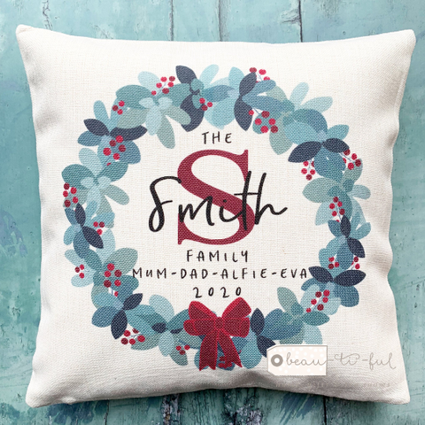 Personalised Christmas Family Traditional Wreath Cushion