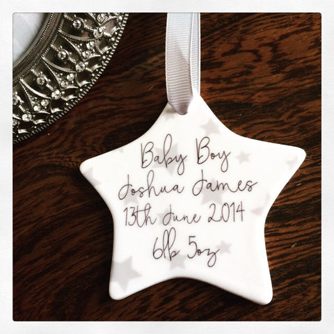 Personalised New Baby Boy Stars Ceramic Star