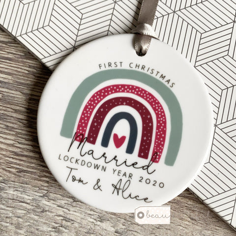 Personalised First Christmas Married Rainbow Lockdown year Ceramic Keepsake