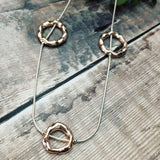 Long Rope style necklace with Rose Gold circles