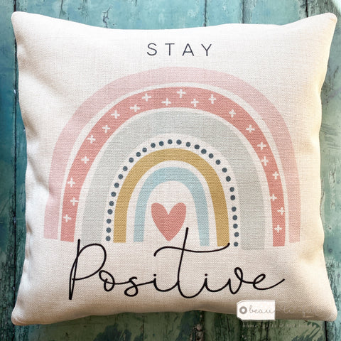 Stay Positive... Pastel Rainbow Cushion