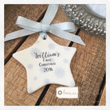 Personalised First Christmas Baby Boy Snowflake Ceramic Star