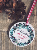Personalised First Christmas As Mr And Mrs Wreath Round Ceramic Tree Hanger Decoration Ornament