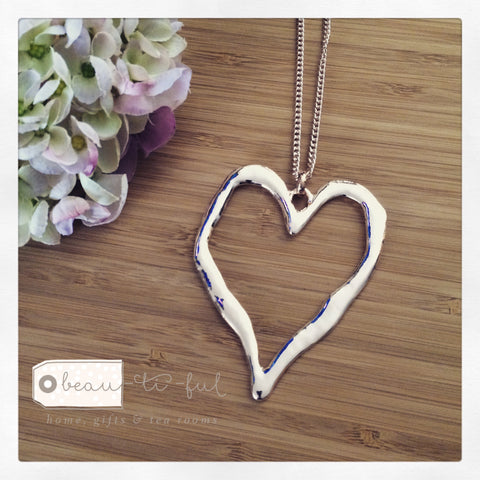 Rose Gold Long Heart Necklace