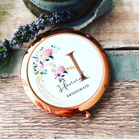 Personalised Initial and Name Pink Floral Round Rose Gold Compact Mirror Wedding Bridesmaid Gift