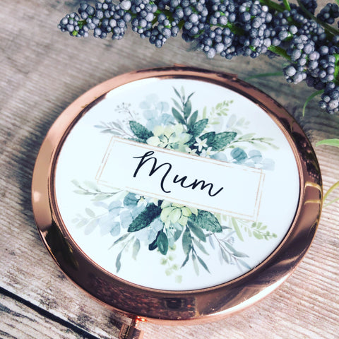 Personalised Name Botanical Round Rose Gold Compact Mirror Wedding Bridesmaid Gift