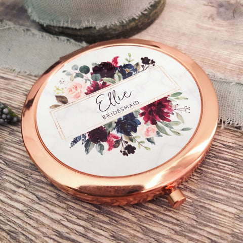 Personalised Initial and Name Burgundy and Navy Floral Round Rose Gold Compact Mirror Wedding Bridesmaid Gift