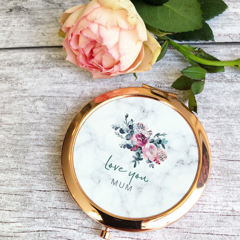 Personalised Love you... Name Floral bouquet Round Rose Gold Compact Mirror