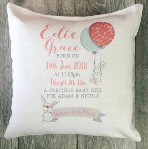 Personalised New Baby ... Linen Style Cushion - New Born - Birth - Baby Girl