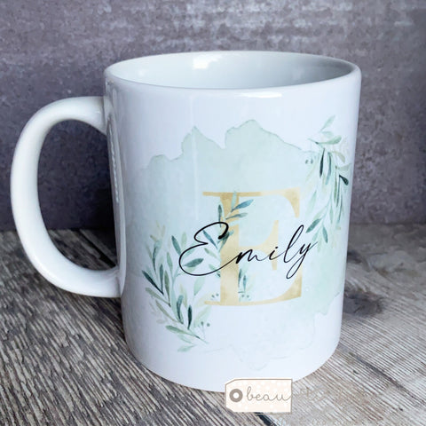 Personalised Name and Initial Mug with Gold and Greenery Botanical Detail  Mug