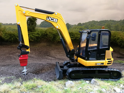 Cimodels Auger Drill to fit Britains JCB 86c1, 3CX 8060 Excavator digger