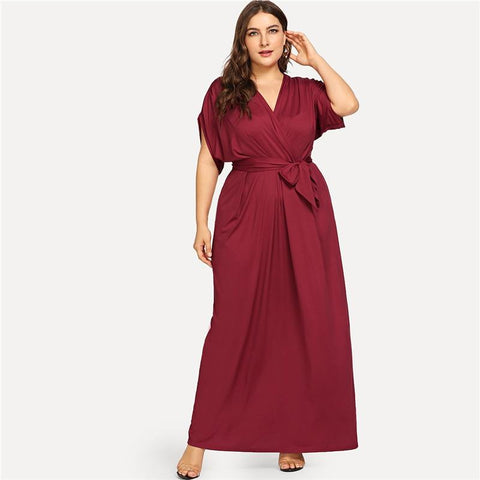 Burgundy V neck dress