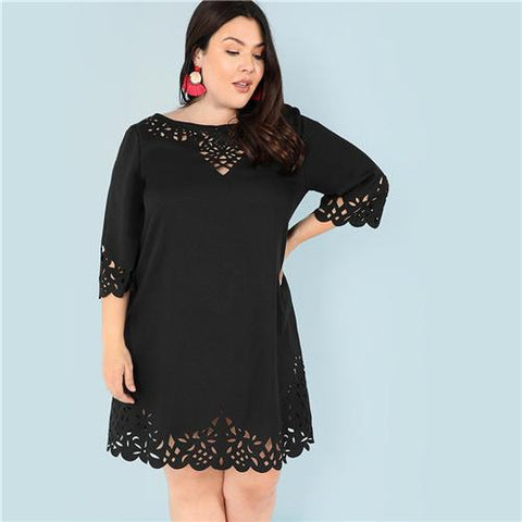 Elegant Laser Cut Out Swing Lace Dress