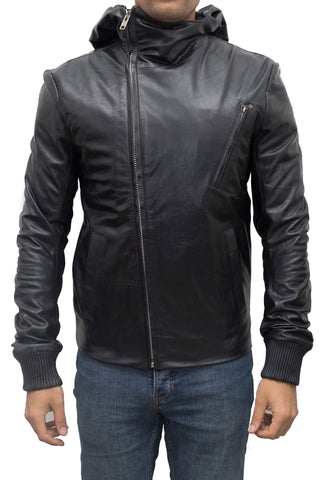 Black Asymmetric Hooded Jacket