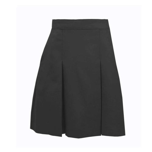 NAZARETH EDV TWILL KICK PLEAT SKIRTS-BLACK with logo