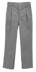 PLEATED FRONT LIGHT GREY TWILL PANT