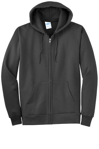 HOLLISTER MIDDLE SCHOOL FULL ZIP HOODED SWEATSHIRT CHARCOALw/logo