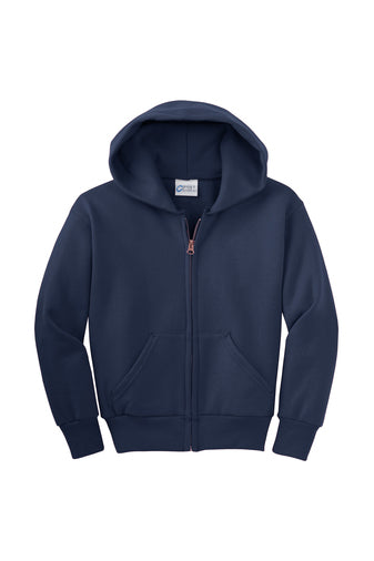 HOLLISTER GRADES K-5  NAVY BLUE FULL ZIP HOODED SWEATSHIRT WITH LOGO