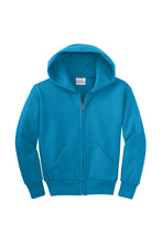 Load image into Gallery viewer, GILROY GRADES K-5  NEON BLUE FULL ZIP HOODED SWEATSHIRT WITH LOGO