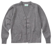Load image into Gallery viewer, V-NECK GREY CARDIGAN SWEATER
