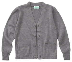 EMBLAZE V-NECK GREY CARDIGAN SWEATER