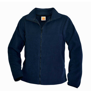 WHIN  FULL ZIP POLAR FLEECE JACKET, NAVY WITH LOGO