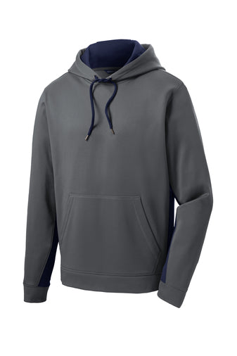 HOLLISTER MIDDLE SCHOOL COLOR BLOCK GREY WITH NAVY PERFORMANCE HOODIE w/logo (ST235)