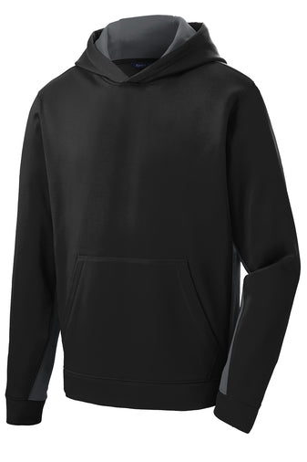 GILROY MIDDLE SCHOOL COLOR BLOCK BLACK&GREY PERFORMANCE HOODIE (YST235) w/logo