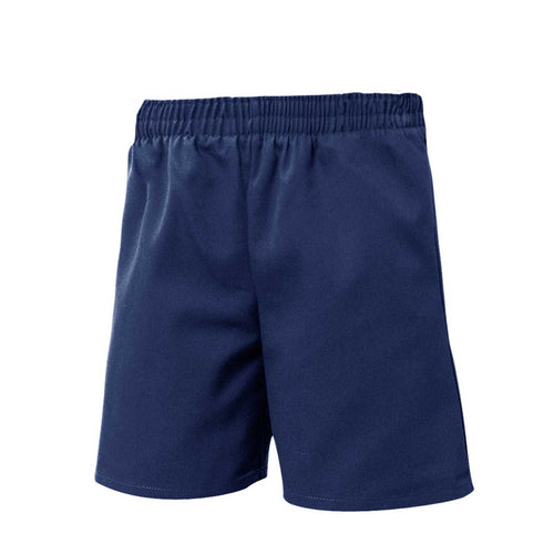 FULL ELASTIC PULL UP TWILL SHORTS-NAVY