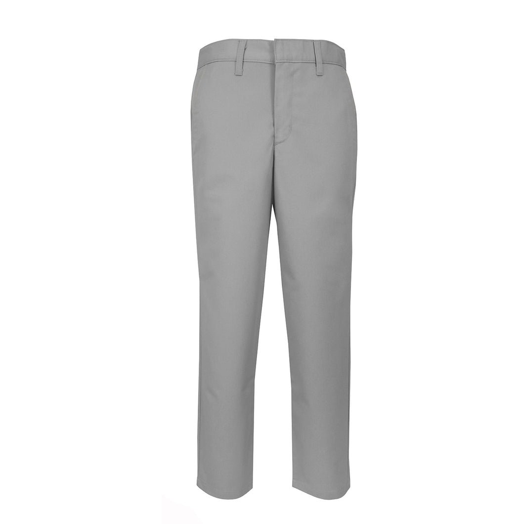 GREY FLAT FRONT TWILL PANT