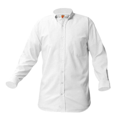 NAZARETH LONG SLEEVE OXFORD SHIRTS- WHITE with LOGO