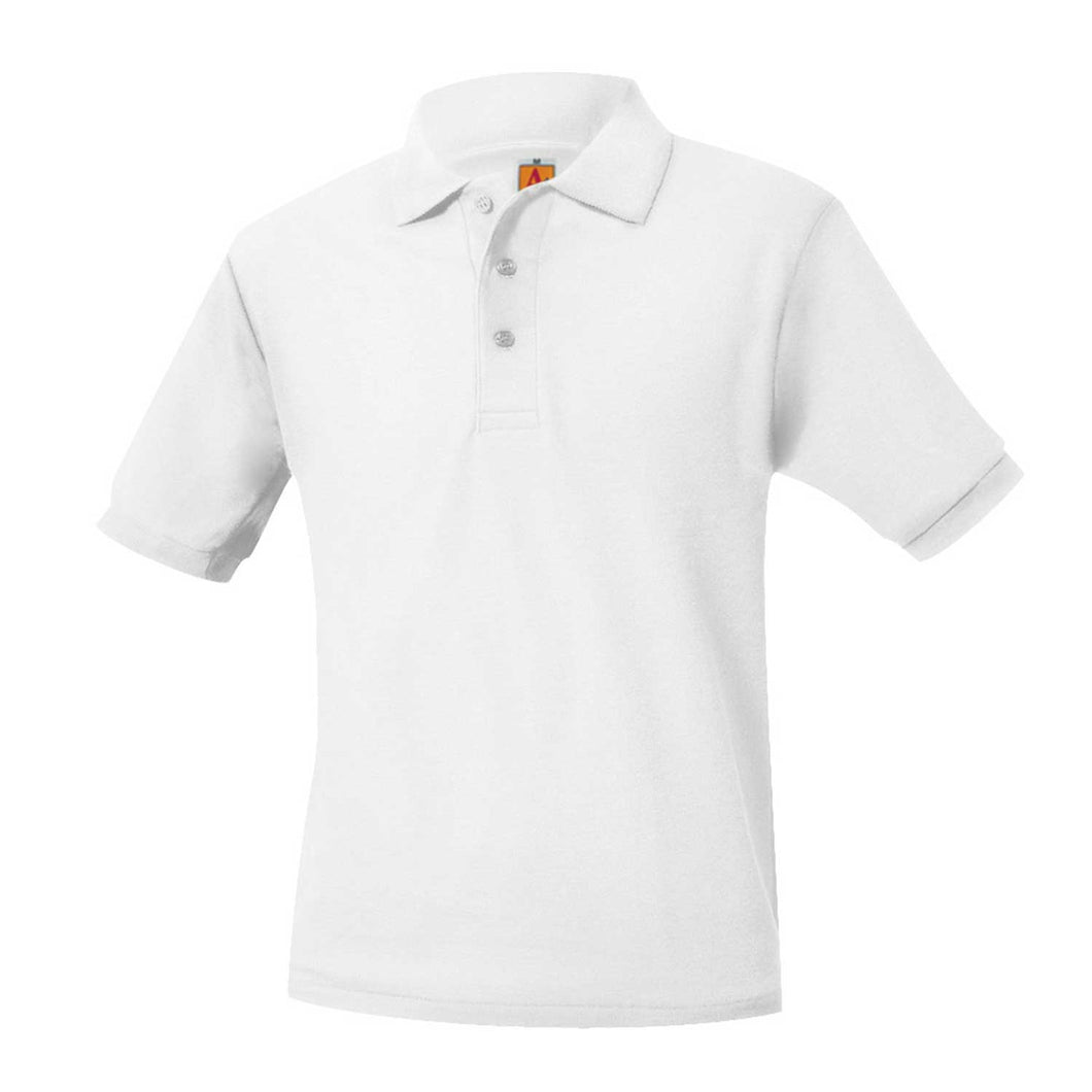 SARATOGA CATHOLIC SHORT SLEEVE WHITE PIQUE POLO SHIRT