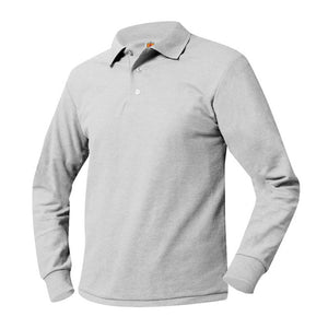 WHIN LONG SLEEVE GREY POLO WITH LOGO
