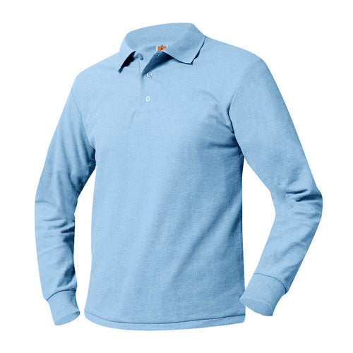 FLI LONG SLEEVE LIGHT BLUE POLO WITH LOGO