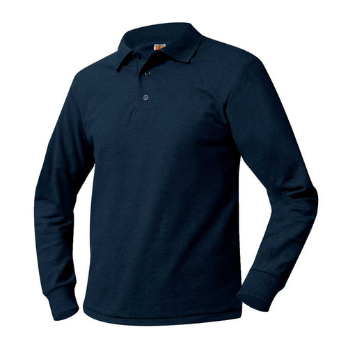 LEGACY LONG SLEEVE NAVY POLO WITH LOGO