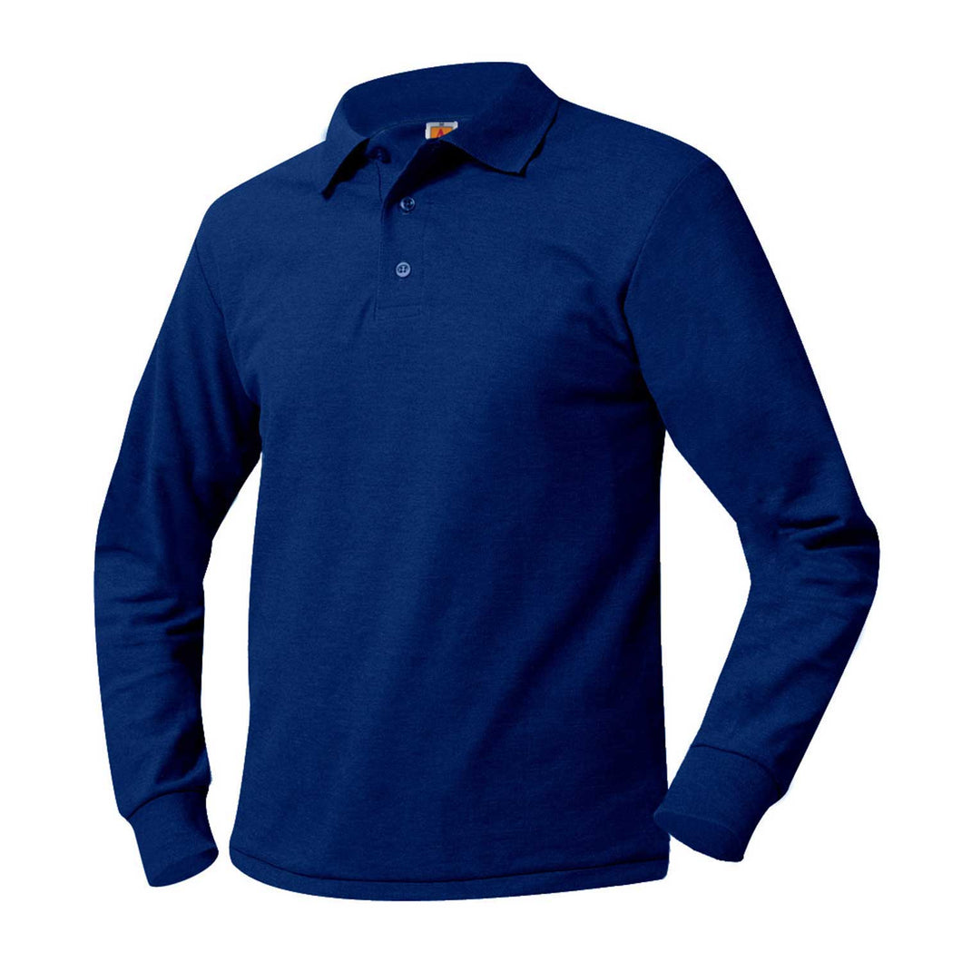 CONEY ISLAND PREP ELEMENTARY LONG SLEEVE POLO. ROYAL WITH LOGO