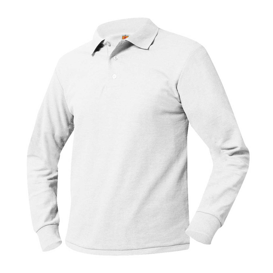 ST. CLEMENT'S LONG SLEEVE WHITE POLO WITH LOGO