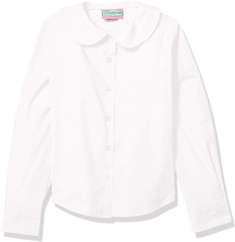 WHITE LONG SLEEVE PETER PAN BLOUSE
