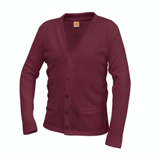 Load image into Gallery viewer, ASCA V-NECK WINE CARDIGAN SWEATER
