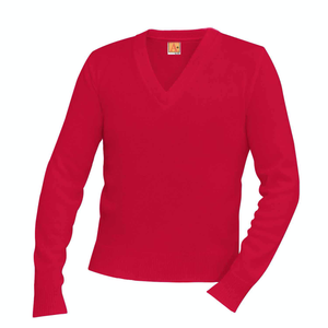 RED V-NECK PULLOVER SWEATER