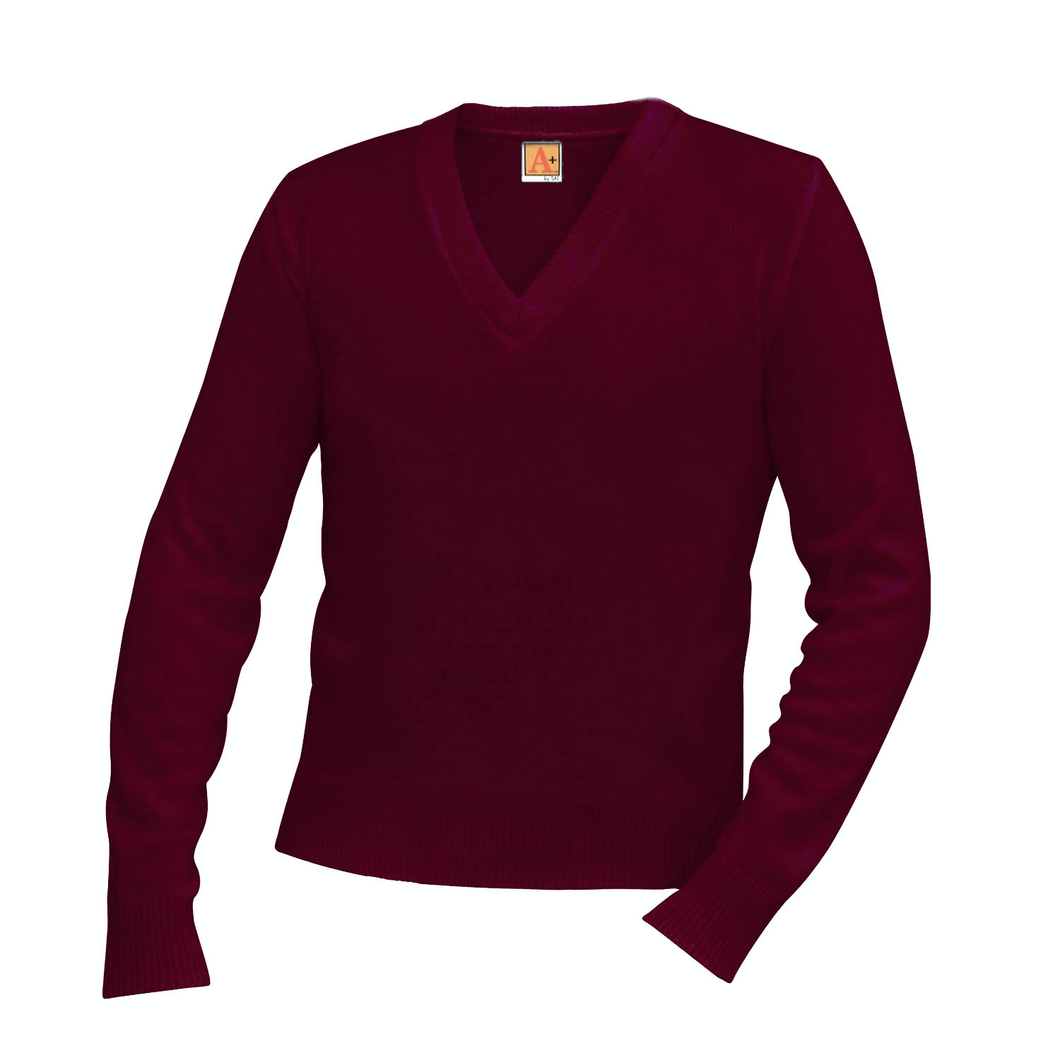 NDBG WINE V-NECK PULLOVER SWEATER- FINAL SALE