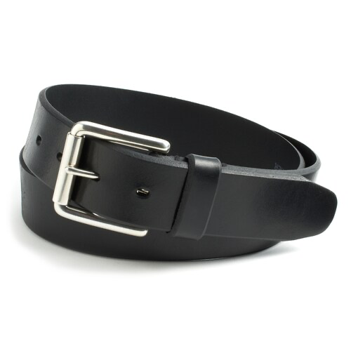 BLACK FAUX LEATHER BELT WITH NICKEL BUCKLE.