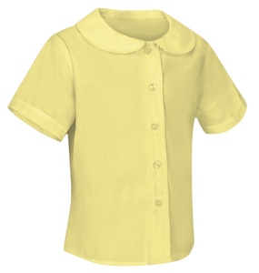 YELLOW SHORT SLEEVE PETER PAN BLOUSE